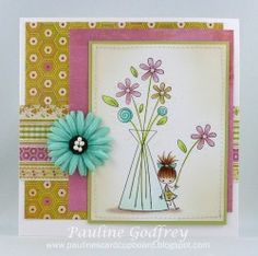 <3 Love Paulineabella's sweet card featuring Stamping Bella Little Peep's Flower Vase.  #rubberstamps #stamping #cards #papercrafts