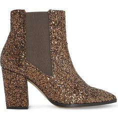 Dune Order glitter chelsea boots (£41) ❤ liked on Polyvore featuring shoes, boots, ankle booties, leather ankle booties, block heel booties, pull on boots, leather high heel boots and pointed toe booties