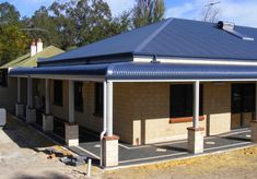 Bullnose Verandah, Bullnose Roofing, Verandah Rafters, Carports and Window Awnings Experts in Melbourne Small Floor Plans, Farmhouse Floor Plans, Window Awnings, Tall Ceilings, Pink Houses, Rustic Walls, House Front, Front Porch, Diy Home Improvement