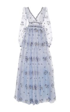 Carnation Embroidered Silk Gauze Gown by LUISA BECCARIA for Preorder on Moda Operandi