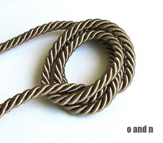 SALE 20 Twisted silk cord 5mm light brown satin rope 2 by OandN