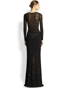 ROBERTO CAVALLI Knit Sheer-Panel Gown