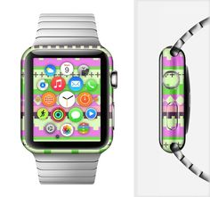 The Lime Green & Pink Tribal Ethic Geometric Pattern Full-Body Skin Set for the Apple Watch