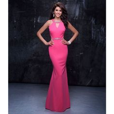 Nina Canacci Hot Pink Sexy Halter Cut Out Gown ($258) ❤ liked on Polyvore featuring dresses, gowns, pink, sexy cocktail dresses, blue gown, hot pink dress, blue cocktail dresses and sexy evening dresses