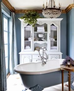 Blue bathroom with footed bathtub House Design, House, Interior, Beautiful Homes, Home Decor, Blue Bathroom, Interior Design, Beautiful Bathrooms, Bathroom Inspiration