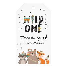 Wild One Tribal Woodland Animals Favor Tags Boy - First Birthday. so much fun! Birthday Favors, Birthday Ideas, Happy Birthday, Boy Birthday, Holiday Gift Tags, Custom Ribbon, Party Napkins, Personalized Gift Tags, Diy Blog