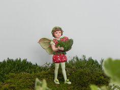 Fairy Accessories, fairy figurine, supply for miniature garden terrarium Cicely Mary Barker Strawberry Flower Fairy cake topper cute fairy