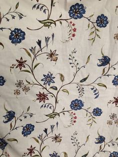 Calico cotton swatch for 18th century reenactors, 18th century interior designs, and historic interpreters. $19.99 yd. 45""