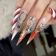 cute nail designs for 2019 Christmas Christmas Nail Designs, Christmas Nail Art, Christmas Decorations, Arrow Nails, Periwinkle Nails, Pink Wedding Nails, Blush Nails, Different Color Nails, Stiletto Nail Art