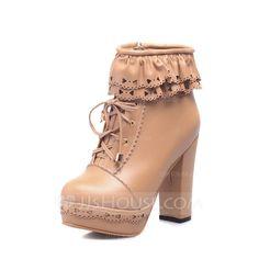 Cuero Tacón ancho Botas al tobillo con Volantes zapatos (088057259)