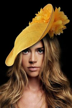 Golden Yellow Slice Saucer Hat Headpiece Silk Roses Flowers Hat