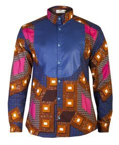 MEN'S AFRICAN PRINT SHIRT BLUE OHEMA OHENE AFRICAN INSPIRED FASHION - 1