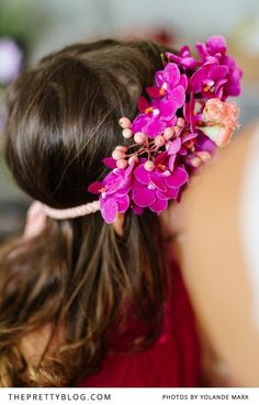 Floral crown of miniature purple orchids | Photographers: Yolandé Marx, Flowers & Styling: Heike from Fleur Le Cordeur