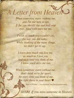 A Letter from Heaven. Frame it and place next to images of those who have passed on Memorial table at Wedding.♥