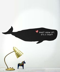 Whale Chalkboard Wall Decal available on Zulily; daily deals for moms, babies and kids. Very trendy in a kids room - who said drawing on the walls was forbidden!? #kid #home #decor #zulily
