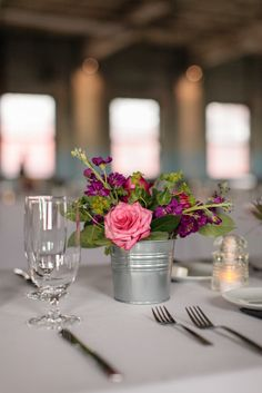 Pink Rose and Purple Stock Centerpieces