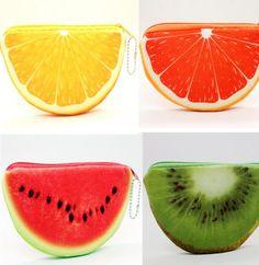 Kawaii verano 4 frutas sandía etc. algodón moneda de la felpa bolsa del bolso del monedero y cartera de la caja ; colgante del bolso del almacenaje del bolso Pouch Case