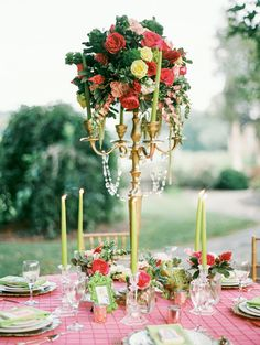 Tall floral centerpiece   JoPhoto   see more on: http://burnettsboards.com/2014/10/lilly-pulitzer-wedding-styles/