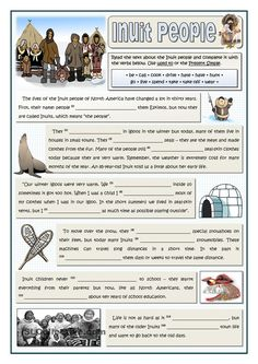Here you are a passage about the Inuit people of North America and how their lives have changed. Students learn about them when they fill in the gaps with the. First Day Activities, Travel Activities, Advent Activities, Learning Websites For Kids, Lessons For Kids, Esl, First Grade Reading Comprehension, Inuit People, Canadian Culture