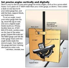 Set Precise Angles Vertically - Table Saw Tips, Jigs and Fixtures | WoodArchivist.com