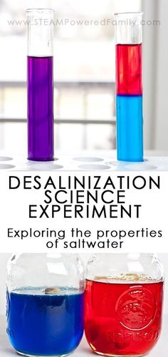 A series of experiments exploring the properties of saltwater including a desalination science experiment (the removal of salt from saltwater). via /steampoweredfam/ 7th Grade Science, Kindergarten Science, Elementary Science, Science Classroom, Teaching Science, Classroom Ideas, Cool Science Experiments, Stem Science, Science Fair Projects