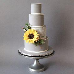 Sunflower Wedding cake made with Satin Ice Fondant Wedding Cake Toppers, Wedding Cakes, Satin Ice Fondant, Gum Paste Flowers, Wedding Cake Inspiration, Sugar Flowers, How To Make Cake, Eat Cake, Fall Wedding