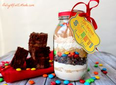 M&M Brownies in a Jar by DelightfulEMade.com