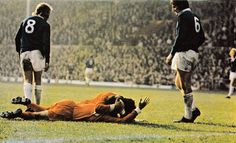 October Everton duo Mike Bernard and John Hurst show a look of contempt as Kevin Keegan jumps on team mate Peter Cormack who just scored the winner, at Anfield. Liverpool Football Club, Liverpool Fc, Mike Bernard, Football Music, Merseyside Derby, Kevin Keegan, Class Games, Everton, Premier League