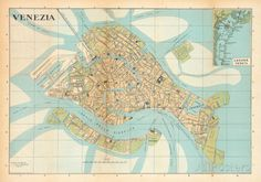 Mappa Di Venezia (Venice Map) - Vintage Style Italian Map Poster Posters at AllPosters.com