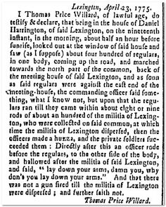 historic newspaper coverage of the battle of lexington  the battle of lexington concord began on 19 1775 see this deposition