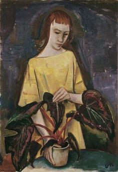 Karl Hofer, Mädchen mit Blattpflanze, 1923