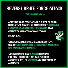 A reverse brute-force attack is a type of brute-force attack in which an attacker uses a common password against multiple usernames in an attempt to gain access to a network. Enabling, Gain, Type
