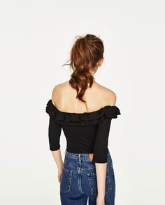 Image 5 of BODYSUIT WITH FRILLED NECKLINE from Zara