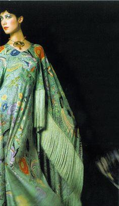 Moyra Swan in Missoni, photo Barry Lategan 1972 kaftan dress embroidered fringe ethnic boho 70s green red blue floral vintage fashion