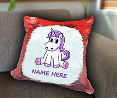 Sitting Unicorn Personalized Sequin Cushion cover with your name unicorn sequin pillow personalised sequin cushion cover magic sequin cover by funkytshirtsfactory on Etsy Sequin Pillow, Unicorn Cushion, Cushion Covers, Cricket, Soft Fabrics, Cushions, Sequins, Magic