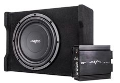 """Skar Audio Single 12"""" 400 Watt Loaded Shallow Subwoofer Enclosure Bass Package with Amplifier and Wiring. All-in-one complete subwoofer package. 12-Inch subwoofer comes pre-wired and loaded in enclosure. Class D amplifier and wiring kit included. Easy-to-install so you can enjoy right away. 400-Watts Peak Power."""