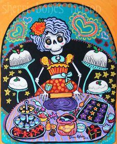 Folk Art Print Mexican Day of the Dead Kitchen Wall Decor Bakery Cakes Orange Purple Gothic skeleton Calavera