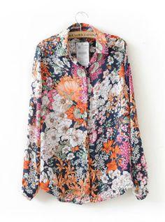 New 2018 Spring Summer Vintage Floral Print Shirt Women Long Sleeve Blusas Chiffon Blouses Tops Flower Kimono Blouse and Tops Kimono Blouse, Floral Blouse, Floral Sleeve, Floral Print Shirt, Floral Prints, Tops Vintage, Vintage Floral, Retro Floral, Floral Tops