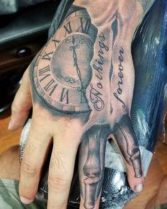 Time Hand Tattoos for Men . Time Hand Tattoos for Men . Forarm Tattoos, Knuckle Tattoos, Forearm Sleeve Tattoos, Dope Tattoos, Badass Tattoos, Tattoo Sleeve Designs, Tattoo Designs Men, Chicano Tattoos, Shoulder Tattoos