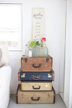 Happy face suitcase end table