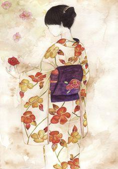 Kimono #illustration #watercolor beautiful (: