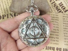 SALE -vintage silver Harry potter Deathly Hallows Pocket Watch Necklace Jewelry Pendant men's gift on Etsy, $4.00