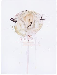 """Akkkk-akkkoooo, Fig. 11 11"""" x 15""""  – watercolor, pencil, thread, wax, charcoal, india ink, paper, tape  Abstract mixed-media watercolor paintings by Claiborne Colombo."""