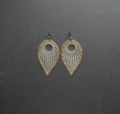 Large Silver Plated Wire Crocheted Leaf Earrings  by Ksemi on Etsy