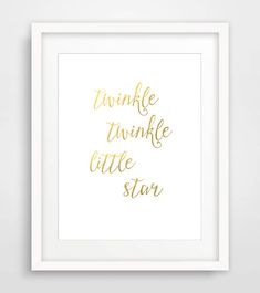 Nursery Art Print, 8x10, Instant Download, Twinkle Twinkle Little Star, Nursery Wall Art, Kids Room Wall Art, Nursery Wall Decor, Gold Print