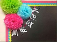 photo of a cute way to decorate the corner of your bulletin board. On left bulletin board. Could I cut the library pockets and use them For the pendants. Classroom Bulletin Boards, Classroom Setting, Classroom Door, Classroom Setup, Classroom Design, Classroom Displays, Kindergarten Classroom, School Classroom, Classroom Organization