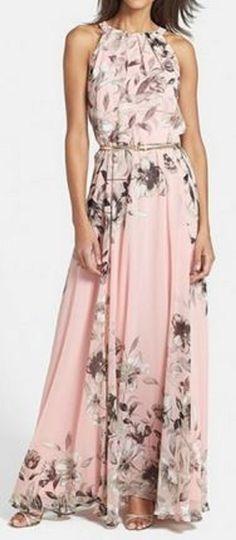 Love Love Love this Dress! Pink + Grey Floral Print Pleated Sleeveless Maxi Dress #Elegant #Pink #Grey #Maxi #Dress #Fashion