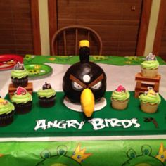 Denny will adore this one! Black Angry Bird birthday cake