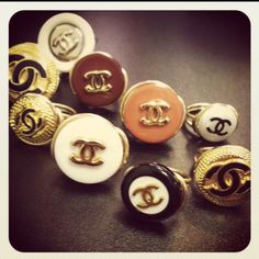 Vintage Chanel buttons turned into rings @ my friends store-Suite 201