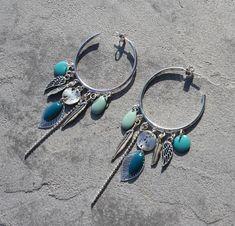 Boucles d'oreilles créole bohème ethnique argenté bleu canard turquoise breloque plume feuille sequin émaillé bijou fait main créateur